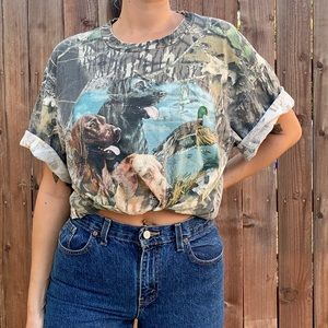 Vintage camo woods tee with dogs and ducks